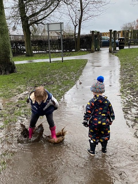 Finding mud when on a walk with children