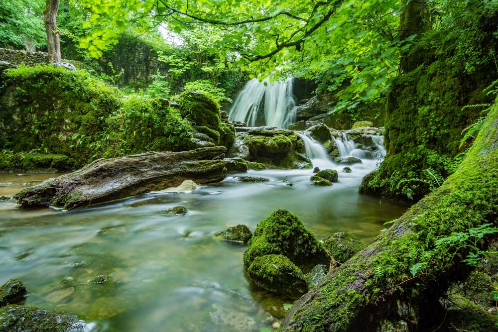 yorkshire river and waterfall
